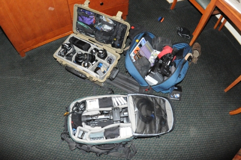 All the gear/personals (tripod case is in the car)