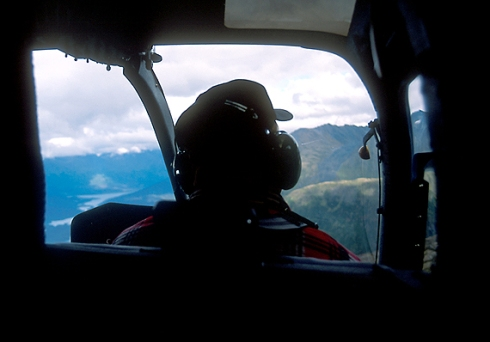 Back seat of a Bell 206 flying search and rescue in Alaska, 1999