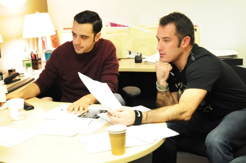 Greg and Tony going over story board concepts...